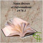 Notes brèves Informations 1978-3 Au Sommaire des Revues