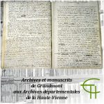Archives et manuscrits de Grandmont aux Archives départementales de la Haute-Vienne