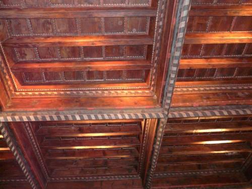 Le plafond peint de la salle Vinas du château d'En-bas à Poussan
