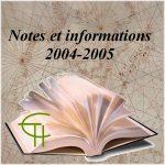 Notes et informations 2004-2005