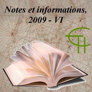 Notes et informations VI, 2009