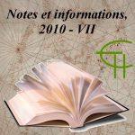 Notes et informations VII, 2010