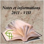 Notes et informations VIII, 2011
