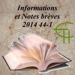 Informations et Notes brèves Etudes Héraultaises 2014 44-1