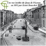 Une vue inédite du Quay de Pézenas en 1852 par Henri Bouschet