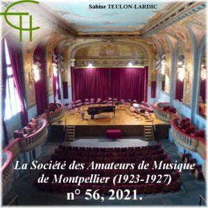 Revue Etudes Héraultaises n°56, La Société des Amateurs de Musique de Montpellier (1923-1927) Diffuser la musique de la Renaissance au XXe siècle, Sabine TEULON-LARDIC
