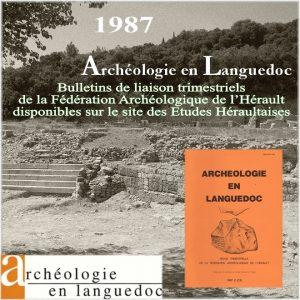 Fédération Archéologique de L'Hérault 1987 Bulletins de liaison 1 à 3