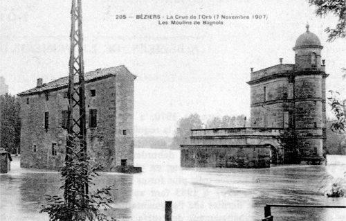 Béziers La crue de l'Orb du 7 novembre 1907, Les moulins de Bagnols