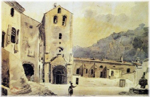 Église et place de Saint-Guilhem, 21 octobre 1822, par J.-J. Amelin (1785-1858). Retouché le 22 janvier 1845. © Bibliothèque municipale de Montpellier, cliché J.-C. R.