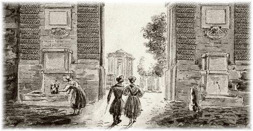 J.-M. Amelin (1785-1858) : Porte du Peyrou vue de l'intérieur en direction de la promenade (signé, sans date) © Collection particulière, Montpellier.