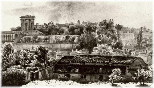 Ancienne vue des Jardins du Peyrou à Montpellier