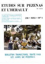 Revue Etudes sur Pézenas et l'Hérault-1981-1